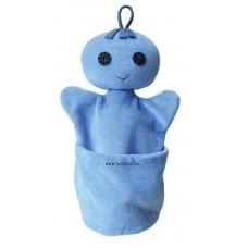 Szelektív baba, kék (papír)-kesztyűbáb felnőtt kézre