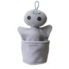 Szelektív baba, szürke (fém)-kesztyűbáb felnőtt kézre