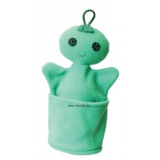 Szelektív baba, zöld (színes üveg)-kesztyűbáb felnőtt kézre