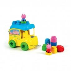 Clemmy - Peppa Malac busz, játékszett puha építőkockákkal