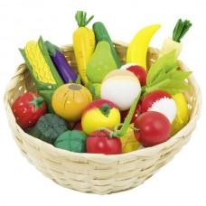 Nagy kosaras gyümölcs és zöldség szett