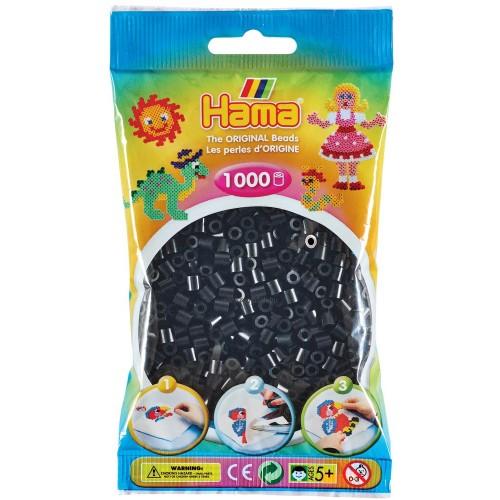 Hama vasalható gyöngy - 1000 db-os fekete színű Midi