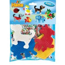 Hama Vasalható Gyöngykészlet-3000 db gyöngy és 4 alaplap-állatok Midi