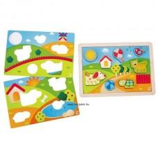 Hape Bébi puzzle, vidéki táj 3 az 1-ben