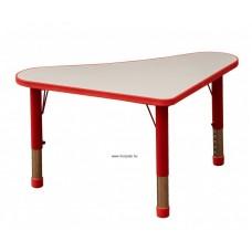 Asztal,íves háromszög,állítható magasságú,piros