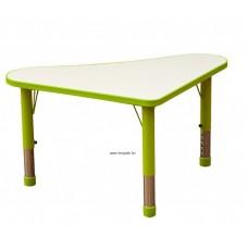 Asztal, íves háromszög,állítható magasságú,zöld