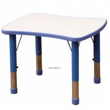 Asztal,íves négyszög,állítható magasságú,kék