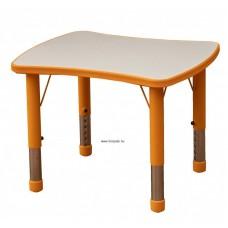 Asztal,íves négyszög,állítható magasságú,narancs