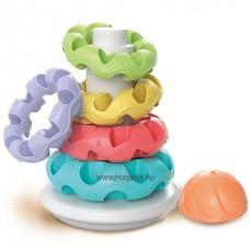 Gyűrűpiramis fejlesztőjáték- tapintós montessori