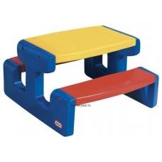 Piknik asztal, kék-piros