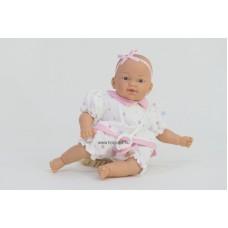 Csecsemő baba, rózsaszín ruhában, 26 cm