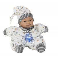 Gyömi baba, szürke  ruhában, 26 cm