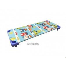 Gyermekágynemű - Óvodai vászon lepedő, városos mintázattal - kék alapon