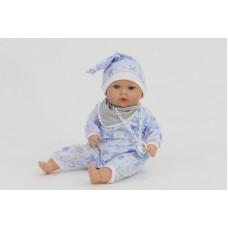 Tita baba, kék ruhában, súlyozott, 45 cm